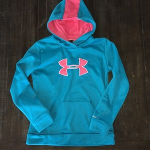 under armour girls turquoise pink hoodie YLG JG